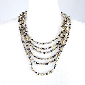 Loft Multistrand Glass Acrylic Beaded Necklace
